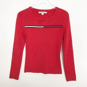 Tommy Hilfiger red ribbed pullover/logo front M